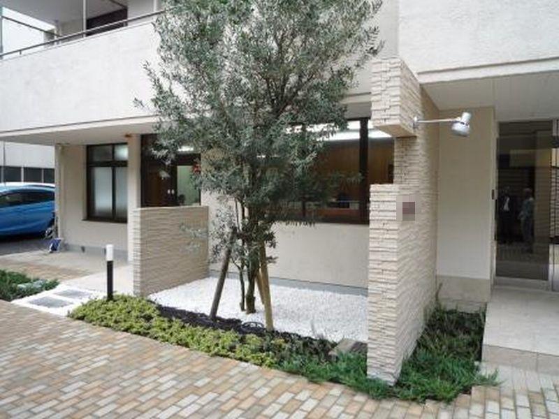 事務所入口にオリーブの木を植え明るいエントランスにしました