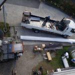 屋根の資材搬入です。