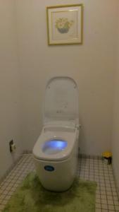ホールのトイレにはLIXIL最新型のシャワートイレ一体型便器 サティスGが置かれています。座ると音楽が流れてきます。