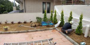 車庫上 植栽工事