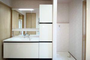 洗面化粧台:LIXILルミシス 三面鏡タイプ W1200 トールキャビネットW450